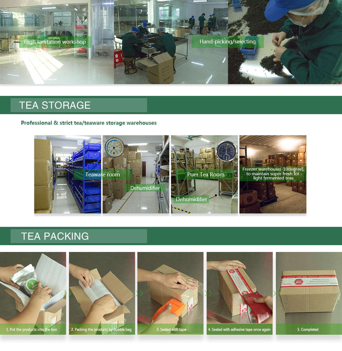 tieguanyin tea storage and packing